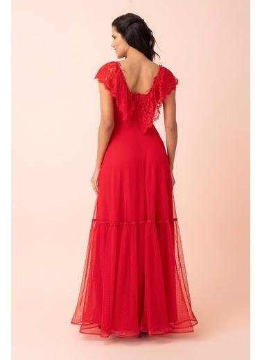 Belamore  Kırmızı Omuzları Dantel Fırfır Detaylı Göğüs Altı Transparan Puantiye Tül Abiye & Mezuniyet Elbise 1301488.08 Kırmızı